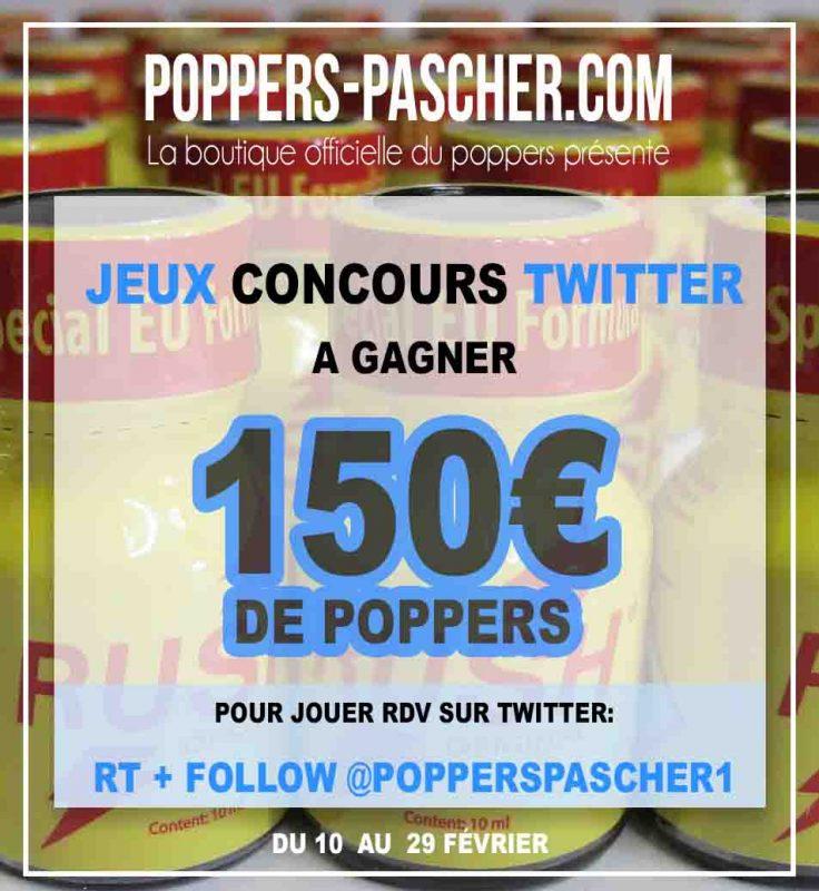 Grand jeux concours pour gagner des Poppers, 150€, une grosse boite de poppers